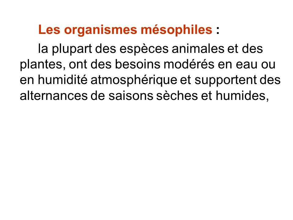 Les organismes mésophiles : la plupart des espèces animales et des plantes, ont des besoins modérés en eau ou en humidité atmosphérique et supportent