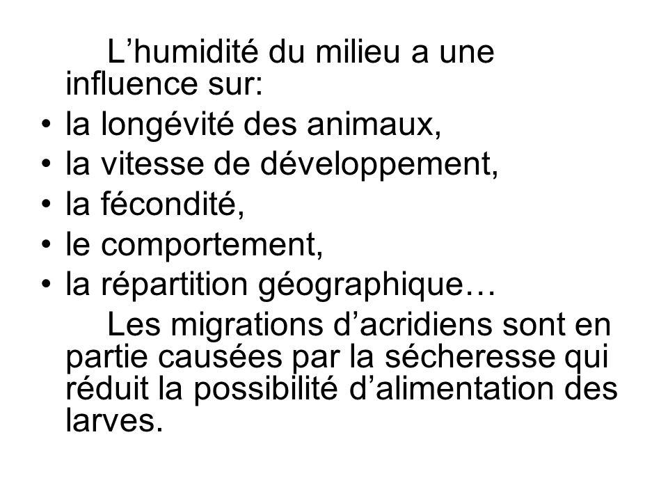 Lhumidité du milieu a une influence sur: la longévité des animaux, la vitesse de développement, la fécondité, le comportement, la répartition géograph