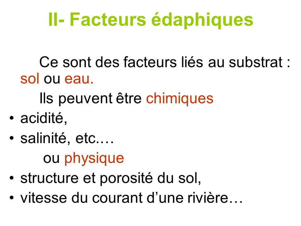 II- Facteurs édaphiques Ce sont des facteurs liés au substrat : sol ou eau. Ils peuvent être chimiques acidité, salinité, etc.… ou physique structure