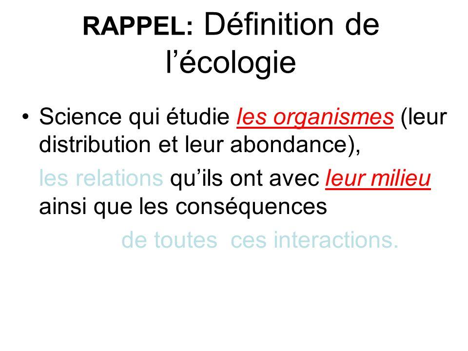 RAPPEL: Définition de lécologie Science qui étudie les organismes (leur distribution et leur abondance), les relations quils ont avec leur milieu ains