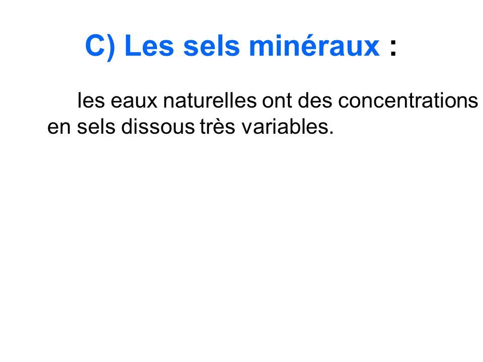 C) Les sels minéraux : les eaux naturelles ont des concentrations en sels dissous très variables.