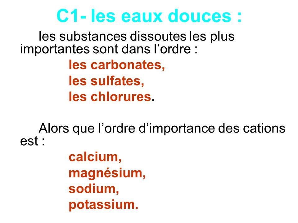 C1- les eaux douces : les substances dissoutes les plus importantes sont dans lordre : les carbonates, les sulfates, les chlorures. Alors que lordre d