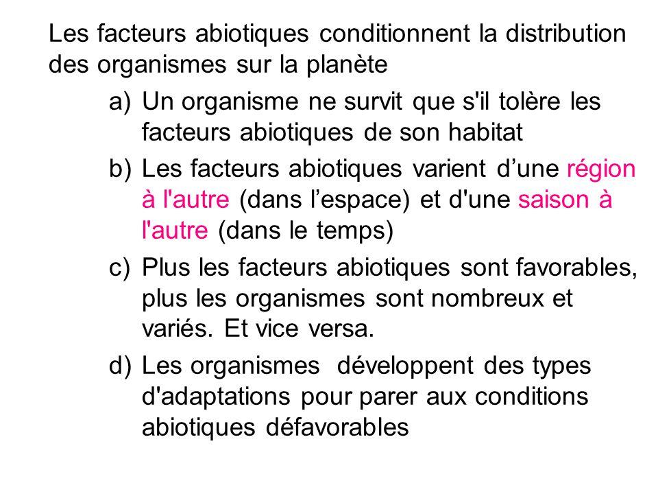 Les facteurs abiotiques conditionnent la distribution des organismes sur la planète a)Un organisme ne survit que s'il tolère les facteurs abiotiques d