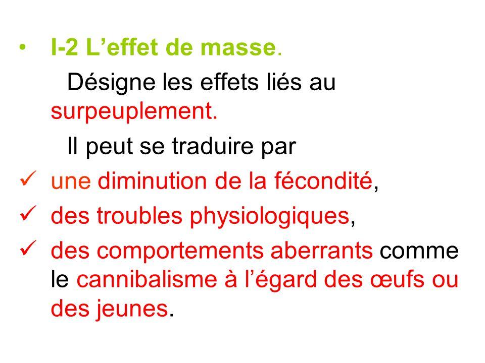 I-2 Leffet de masse. Désigne les effets liés au surpeuplement. Il peut se traduire par une diminution de la fécondité, des troubles physiologiques, de
