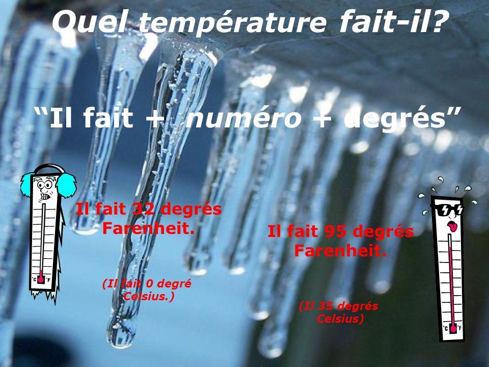 Il pleut. Il neige. Il va pleuvoir : it is going to rain La pluie - the rain Il va neiger. It is going to snow La neige – the snow Quel temps fait-il?