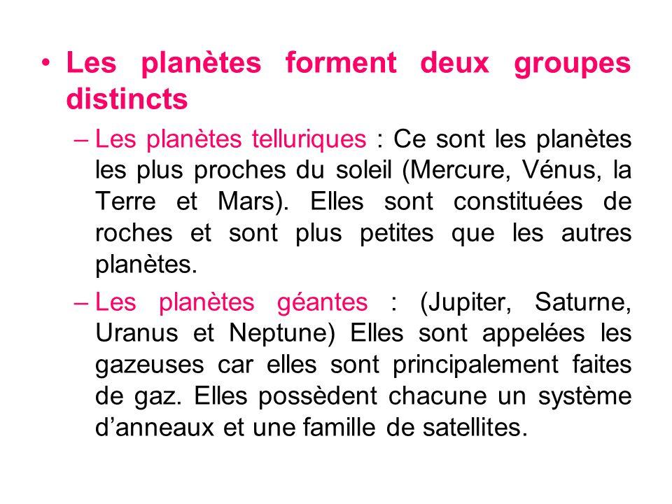 Les planètes forment deux groupes distincts –Les planètes telluriques : Ce sont les planètes les plus proches du soleil (Mercure, Vénus, la Terre et M