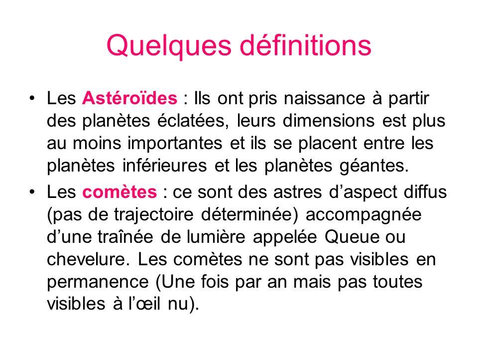 Quelques définitions Les Astéroïdes : Ils ont pris naissance à partir des planètes éclatées, leurs dimensions est plus au moins importantes et ils se
