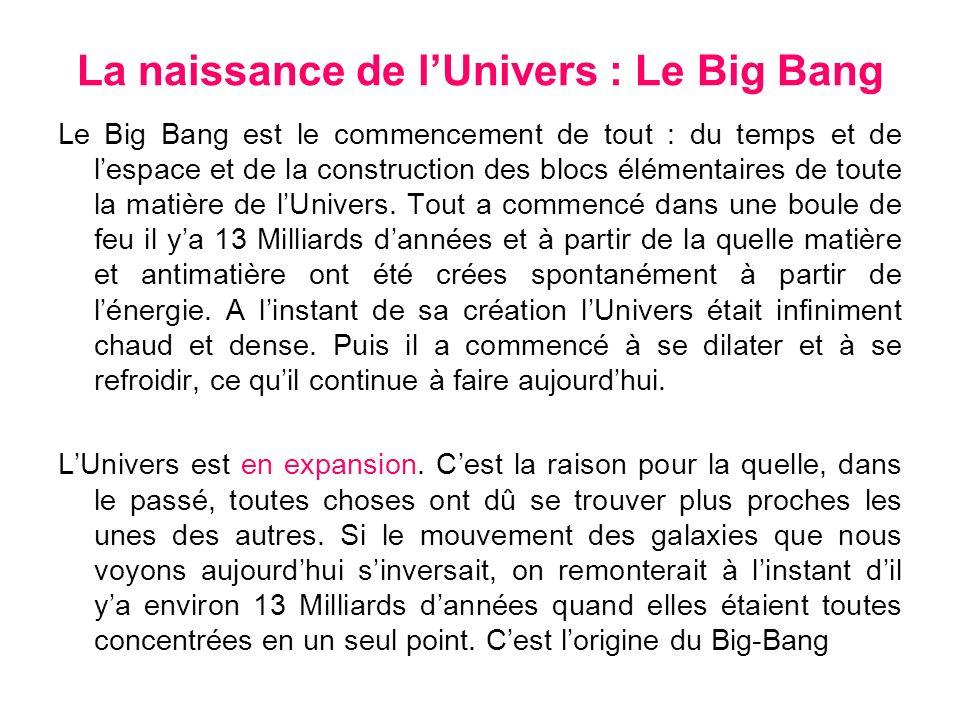 La naissance de lUnivers : Le Big Bang Le Big Bang est le commencement de tout : du temps et de lespace et de la construction des blocs élémentaires d