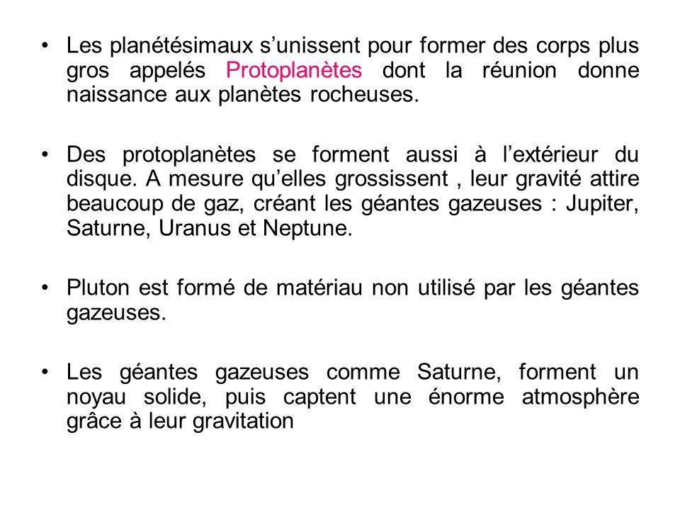 Les planétésimaux sunissent pour former des corps plus gros appelés Protoplanètes dont la réunion donne naissance aux planètes rocheuses. Des protopla