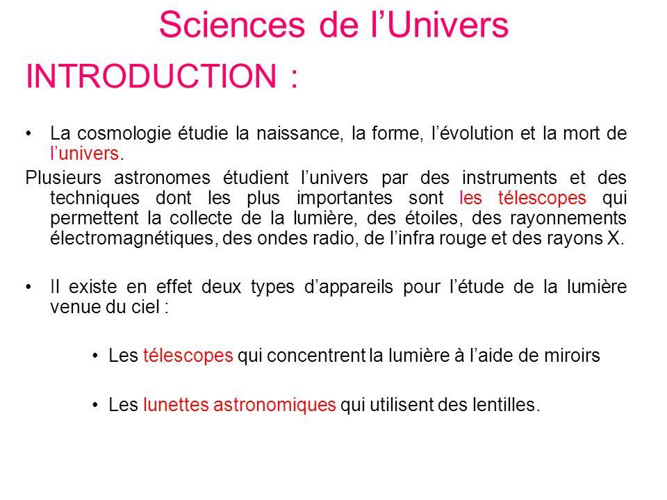 Sciences de lUnivers INTRODUCTION : La cosmologie étudie la naissance, la forme, lévolution et la mort de lunivers. Plusieurs astronomes étudient luni