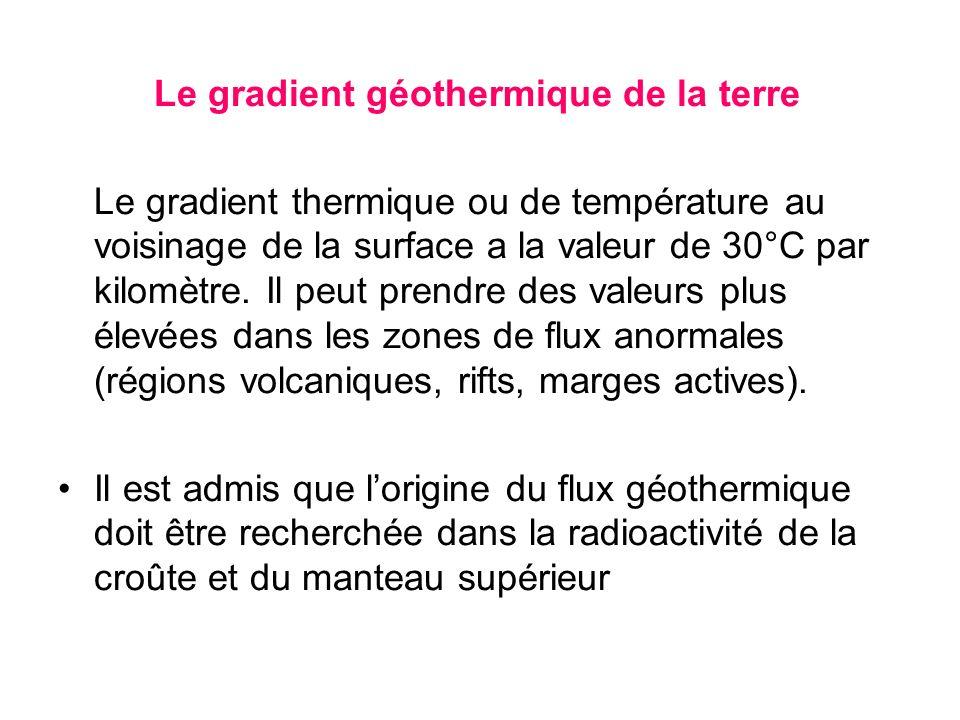 Le gradient géothermique de la terre Le gradient thermique ou de température au voisinage de la surface a la valeur de 30°C par kilomètre. Il peut pre
