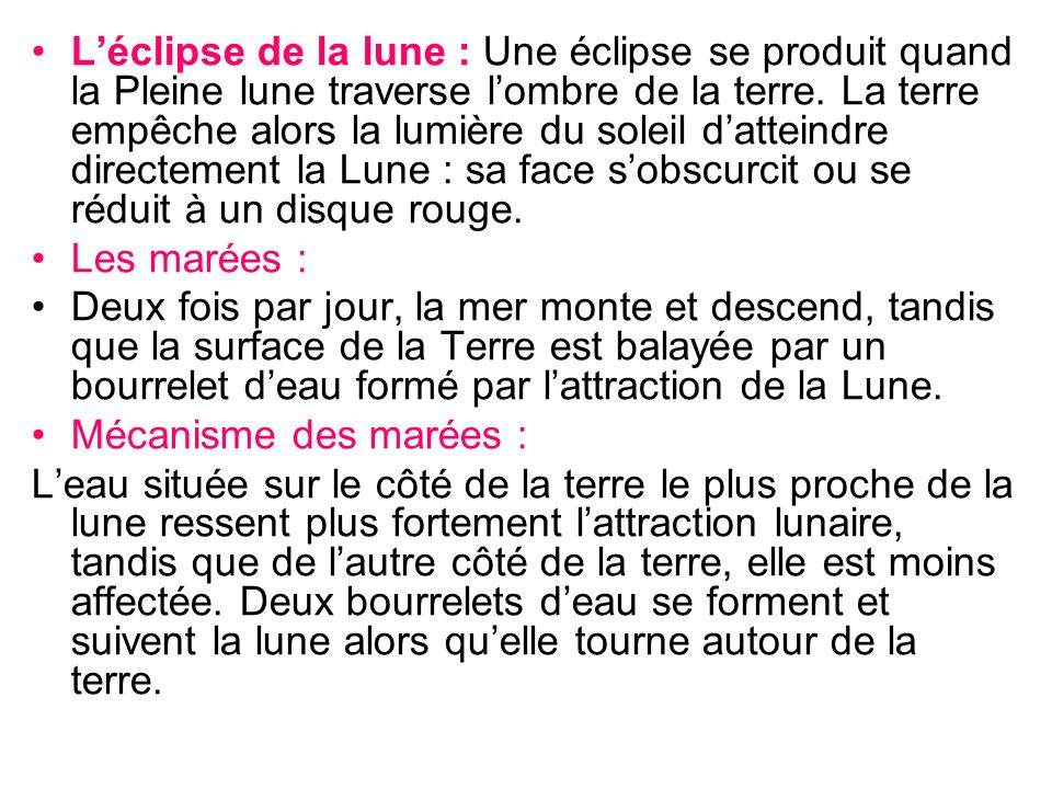 Léclipse de la lune : Une éclipse se produit quand la Pleine lune traverse lombre de la terre. La terre empêche alors la lumière du soleil datteindre