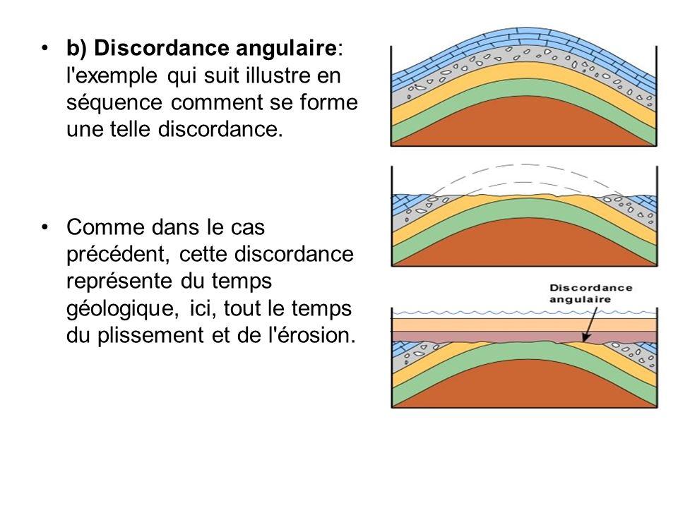 b) Discordance angulaire: l'exemple qui suit illustre en séquence comment se forme une telle discordance. Comme dans le cas précédent, cette discordan