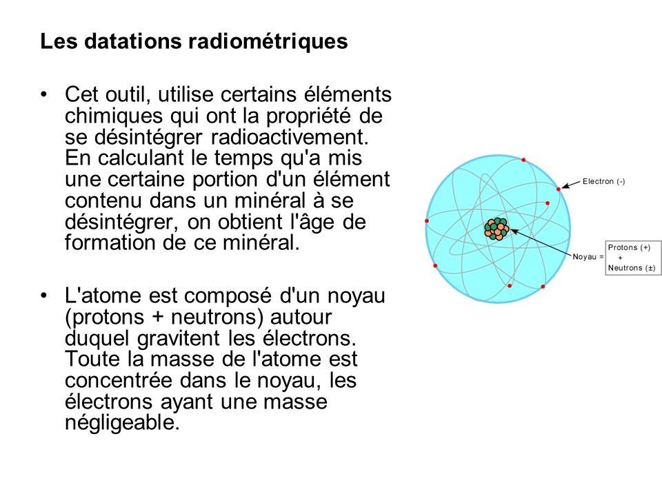 Les datations radiométriques Cet outil, utilise certains éléments chimiques qui ont la propriété de se désintégrer radioactivement. En calculant le te