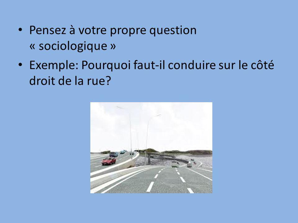 Pensez à votre propre question « sociologique » Exemple: Pourquoi faut-il conduire sur le côté droit de la rue