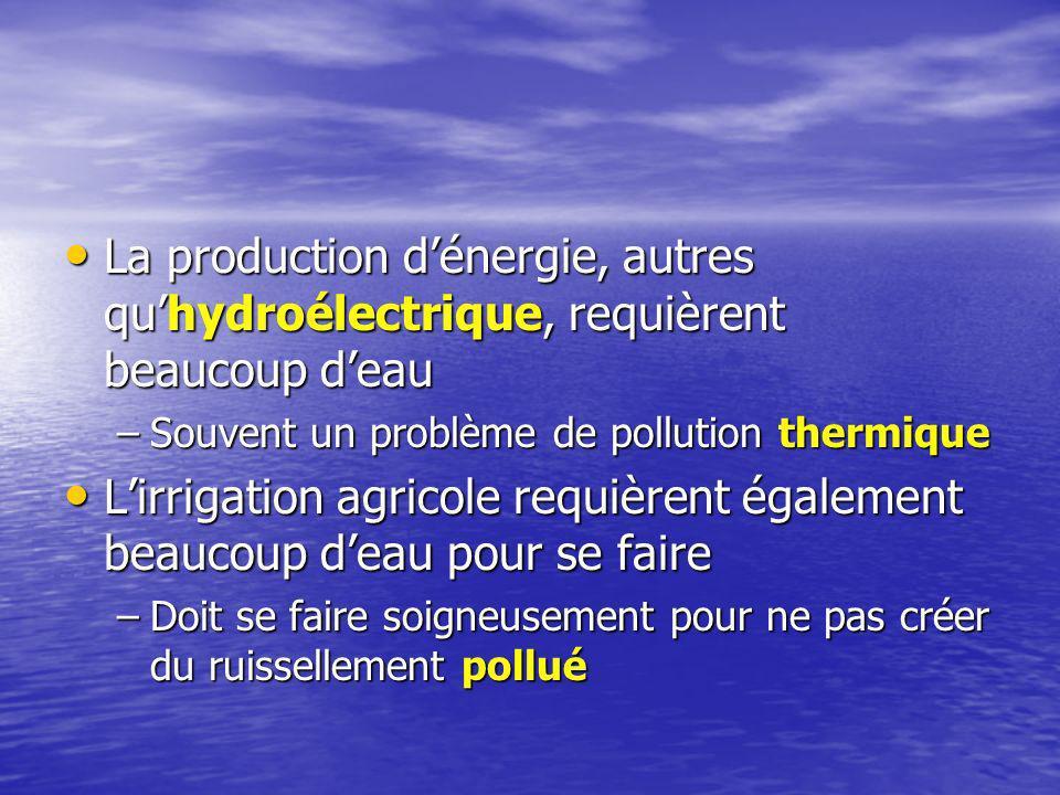La production dénergie, autres quhydroélectrique, requièrent beaucoup deau La production dénergie, autres quhydroélectrique, requièrent beaucoup deau –Souvent un problème de pollution thermique Lirrigation agricole requièrent également beaucoup deau pour se faire Lirrigation agricole requièrent également beaucoup deau pour se faire –Doit se faire soigneusement pour ne pas créer du ruissellement pollué