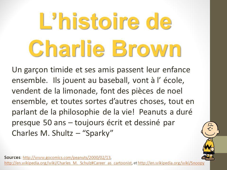 Lhistoire de Charlie Brown Un garçon timide et ses amis passent leur enfance ensemble. Ils jouent au baseball, vont à l école, vendent de la limonade,