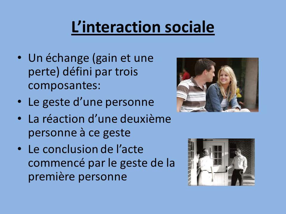 Linteraction sociale Un échange (gain et une perte) défini par trois composantes: Le geste dune personne La réaction dune deuxième personne à ce geste Le conclusion de lacte commencé par le geste de la première personne
