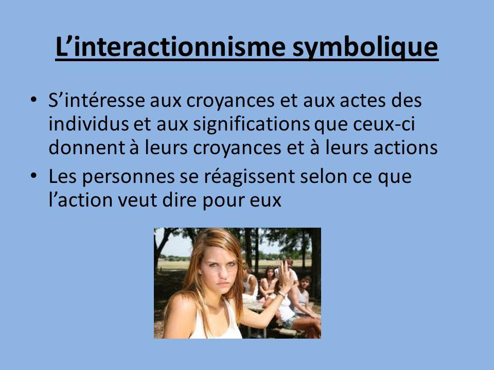 Linteractionnisme symbolique Sintéresse aux croyances et aux actes des individus et aux significations que ceux-ci donnent à leurs croyances et à leurs actions Les personnes se réagissent selon ce que laction veut dire pour eux