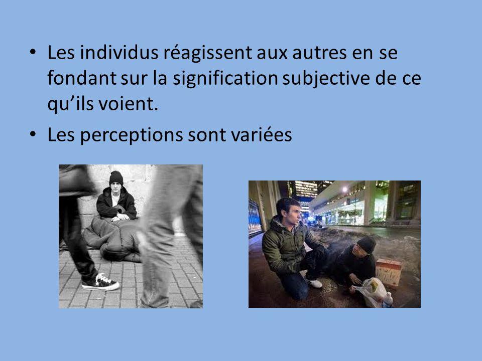 Les individus réagissent aux autres en se fondant sur la signification subjective de ce quils voient.