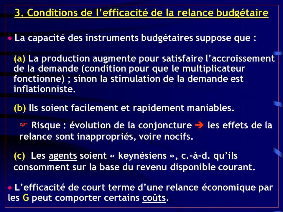 3. Conditions de lefficacité de la relance budgétaire La capacité des instruments budgétaires suppose que : (a) La production augmente pour satisfaire
