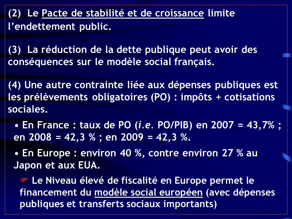 (2) Le Pacte de stabilité et de croissance limite lendettement public. (3) La réduction de la dette publique peut avoir des conséquences sur le modèle