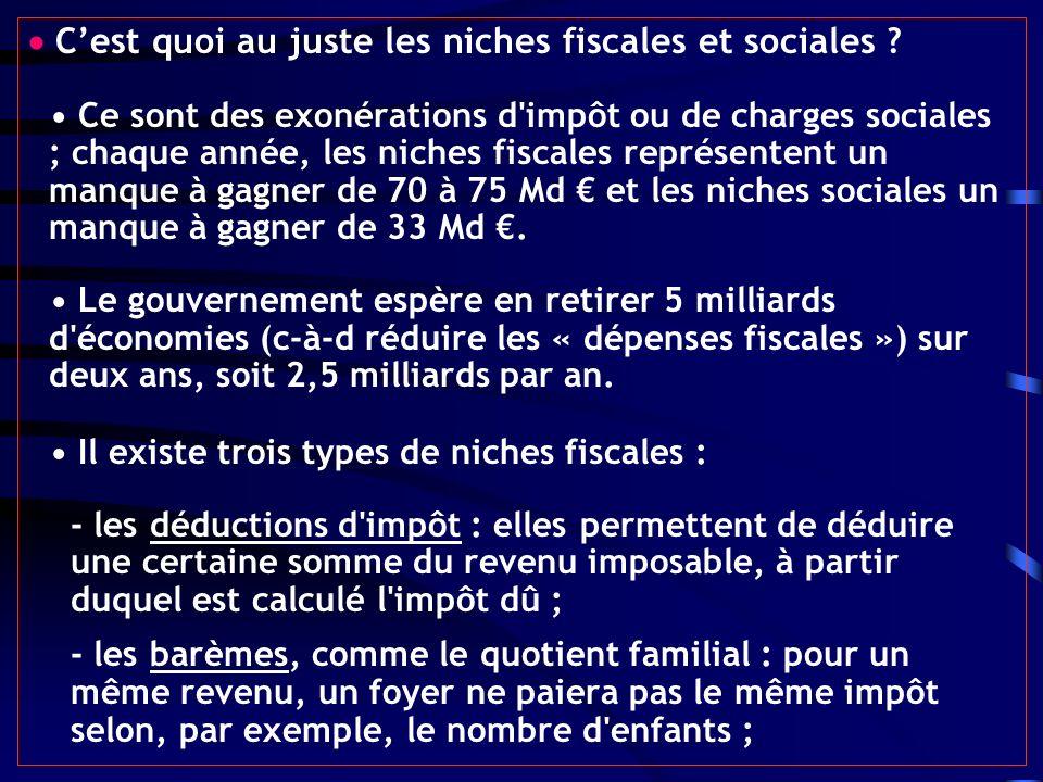 Cest quoi au juste les niches fiscales et sociales ? Ce sont des exonérations d'impôt ou de charges sociales ; chaque année, les niches fiscales repré