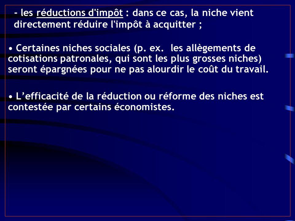 - les réductions d'impôt : dans ce cas, la niche vient directement réduire l'impôt à acquitter ; Certaines niches sociales (p. ex. les allègements de