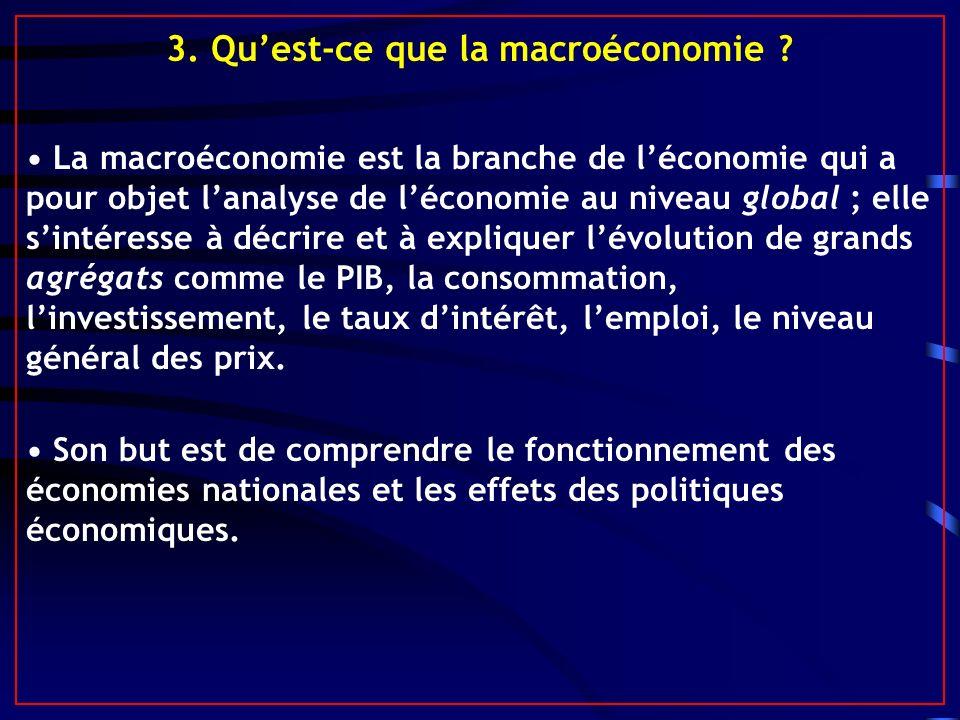 3. Quest-ce que la macroéconomie ? La macroéconomie est la branche de léconomie qui a pour objet lanalyse de léconomie au niveau global ; elle sintére