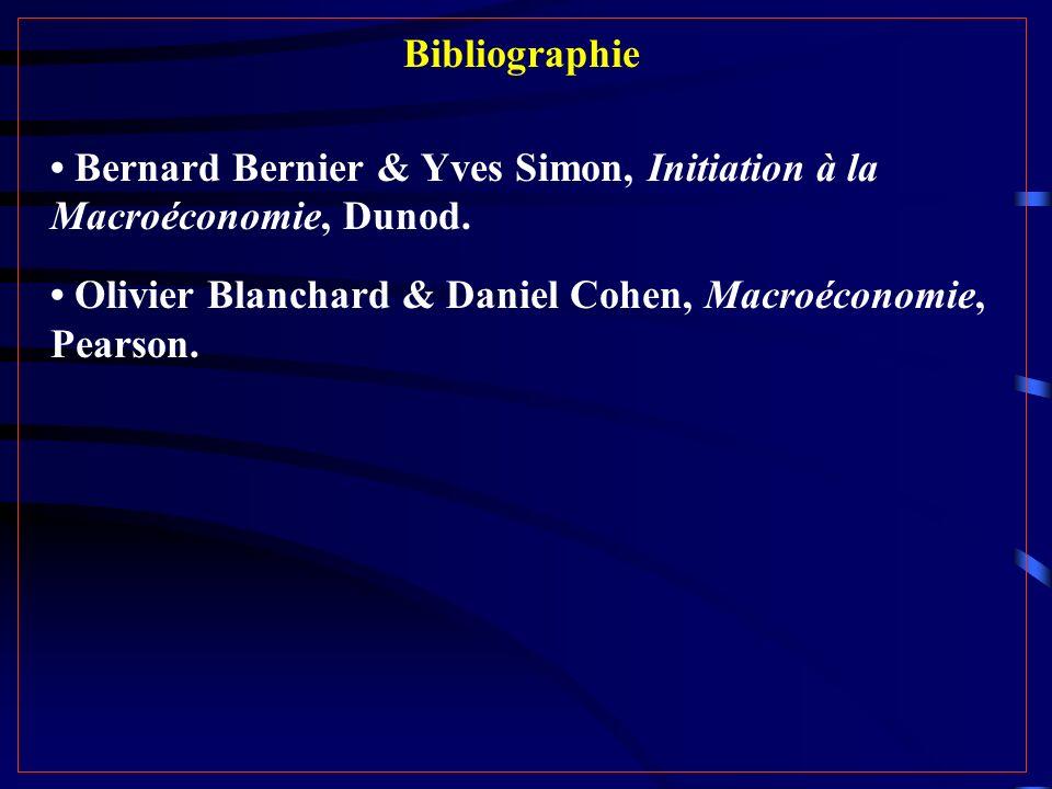 Bibliographie Bernard Bernier & Yves Simon, Initiation à la Macroéconomie, Dunod. Olivier Blanchard & Daniel Cohen, Macroéconomie, Pearson.