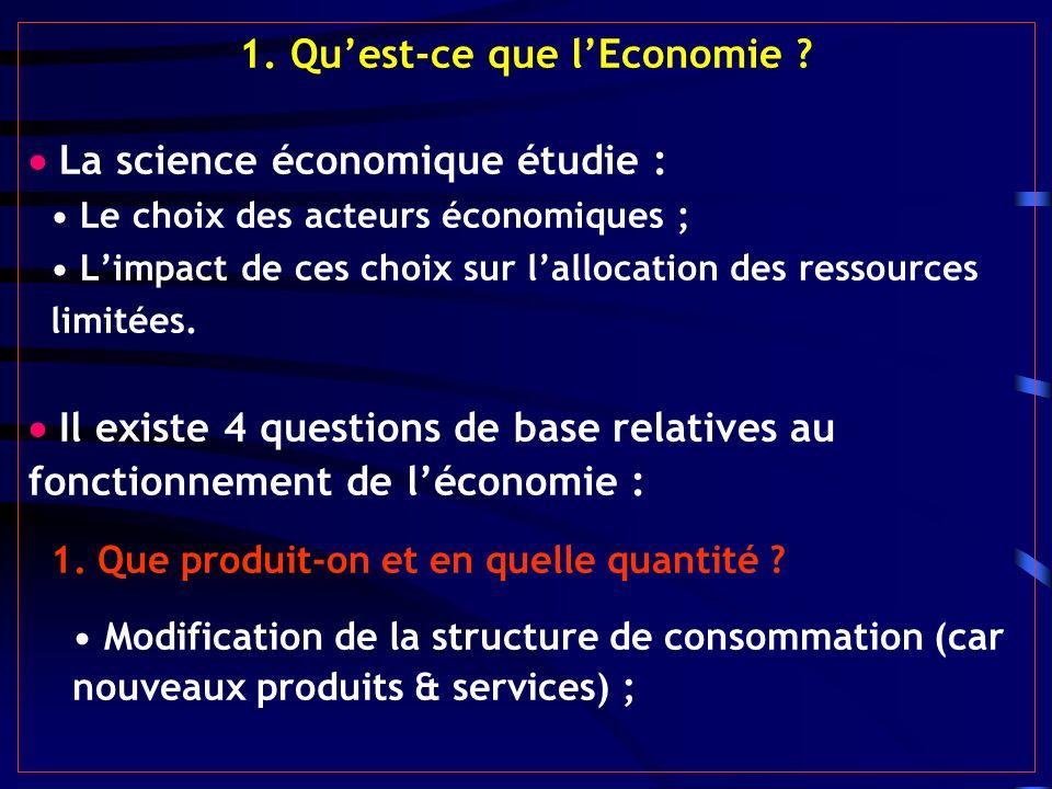 1. Quest-ce que lEconomie ? La science économique étudie : Le choix des acteurs économiques ; Limpact de ces choix sur lallocation des ressources limi