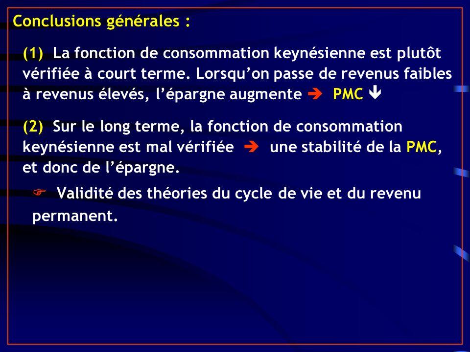 Conclusions générales : (1) La fonction de consommation keynésienne est plutôt vérifiée à court terme. Lorsquon passe de revenus faibles à revenus éle