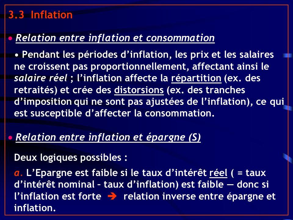3.3 Inflation Relation entre inflation et consommation Pendant les périodes dinflation, les prix et les salaires ne croissent pas proportionnellement, affectant ainsi le salaire réel ; linflation affecte la répartition (ex.
