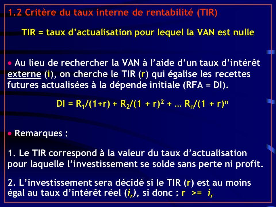 1.2 Critère du taux interne de rentabilité (TIR) TIR = taux dactualisation pour lequel la VAN est nulle Au lieu de rechercher la VAN à laide dun taux dintérêt externe (i), on cherche le TIR (r) qui égalise les recettes futures actualisées à la dépende initiale (RFA = DI).