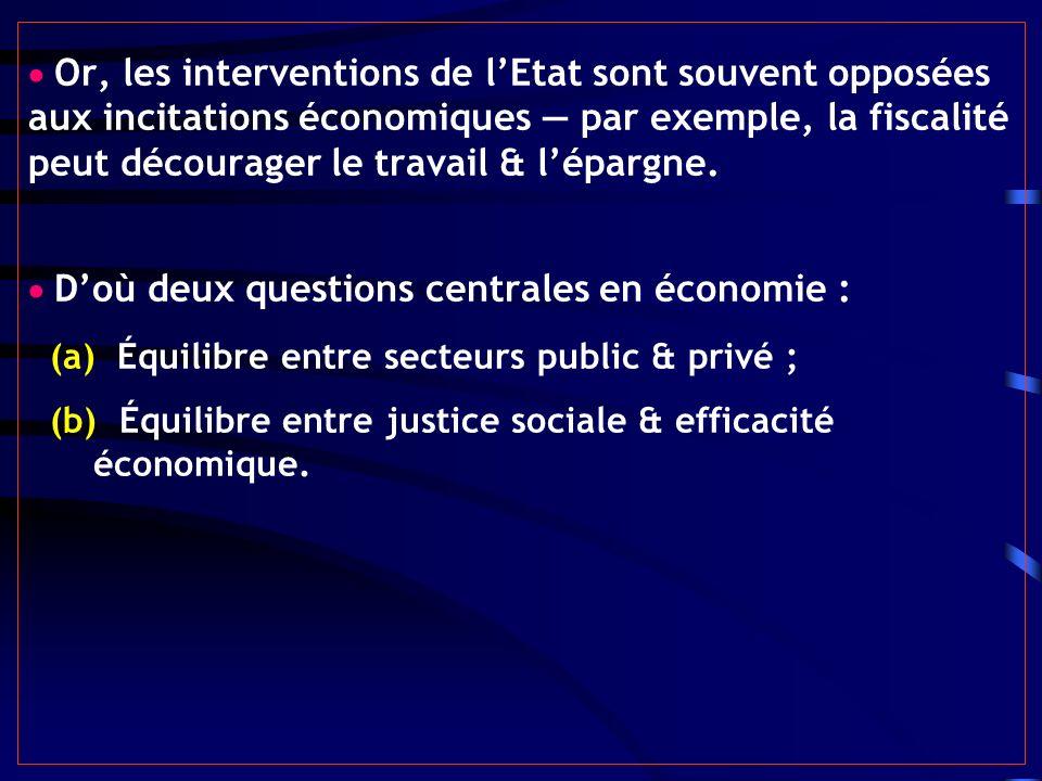 Or, les interventions de lEtat sont souvent opposées aux incitations économiques par exemple, la fiscalité peut décourager le travail & lépargne. Doù