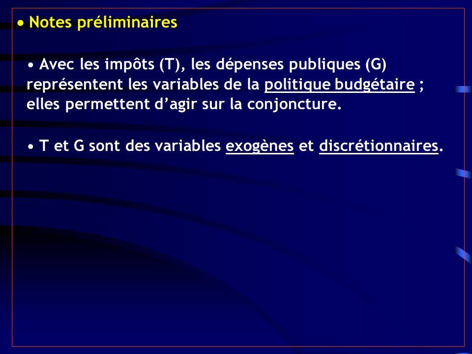 Notes préliminaires Avec les impôts (T), les dépenses publiques (G) représentent les variables de la politique budgétaire ; elles permettent dagir sur la conjoncture.