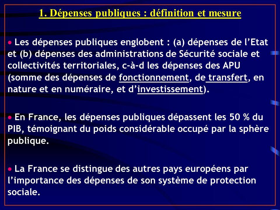 1. Dépenses publiques : définition et mesure Les dépenses publiques englobent : (a) dépenses de lEtat et (b) dépenses des administrations de Sécurité