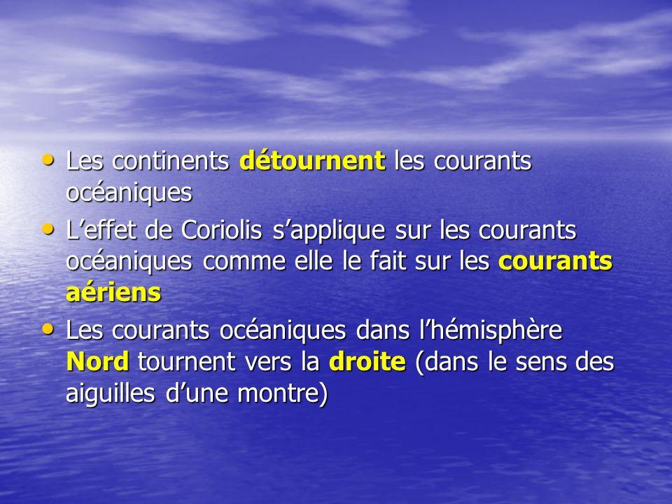 Les courants océaniques dans lhémisphère Sud tournent vers la gauche (dans le sens contraire aux aiguilles dune montre) Les courants océaniques dans lhémisphère Sud tournent vers la gauche (dans le sens contraire aux aiguilles dune montre) En regardant la carte des courants océaniques, nous voyons des courants presque circulaires En regardant la carte des courants océaniques, nous voyons des courants presque circulaires oCes courants se nomment des tourbillons