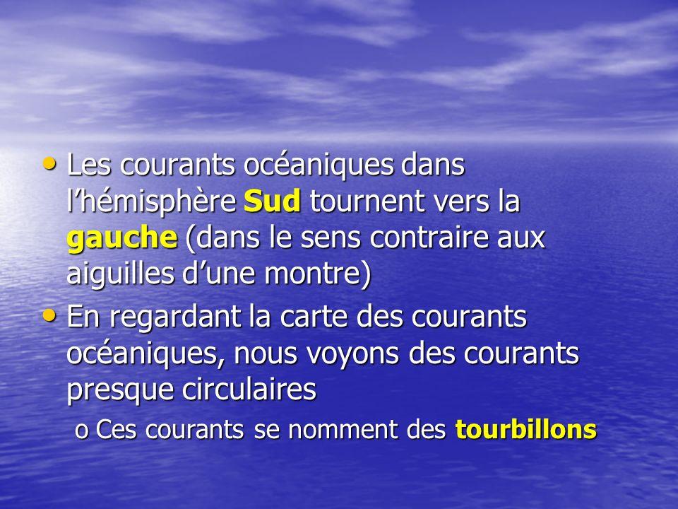 Les courants océaniques dans lhémisphère Sud tournent vers la gauche (dans le sens contraire aux aiguilles dune montre) Les courants océaniques dans l