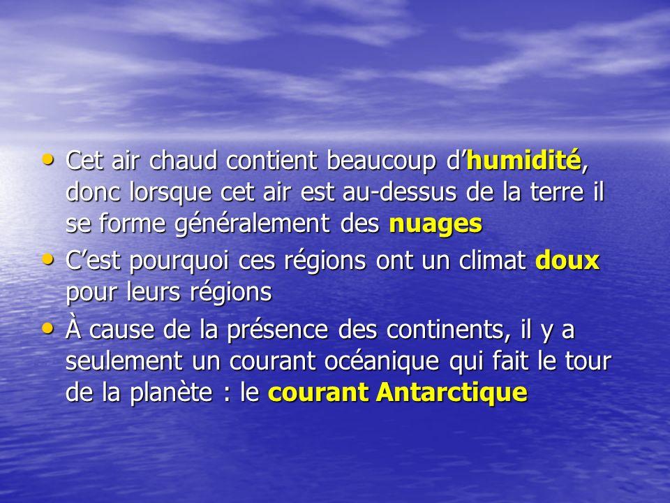 Cet air chaud contient beaucoup dhumidité, donc lorsque cet air est au-dessus de la terre il se forme généralement des nuages Cet air chaud contient b