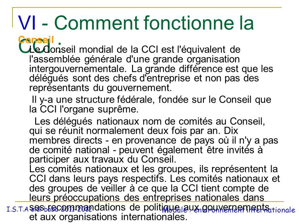 VI - Comment fonctionne la CCI : Conseil Le Conseil mondial de la CCI est l'équivalent de l'assemblée générale d'une grande organisation intergouverne