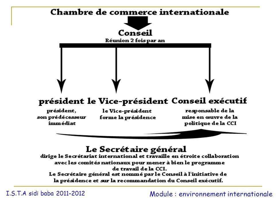 I.S.T.A sidi baba 2011-2012 Module : environnement internationale