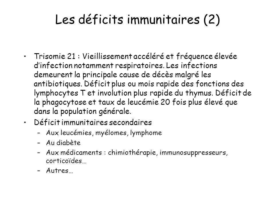 Les déficits immunitaires (2) Trisomie 21 : Vieillissement accéléré et fréquence élevée dinfection notamment respiratoires. Les infections demeurent l