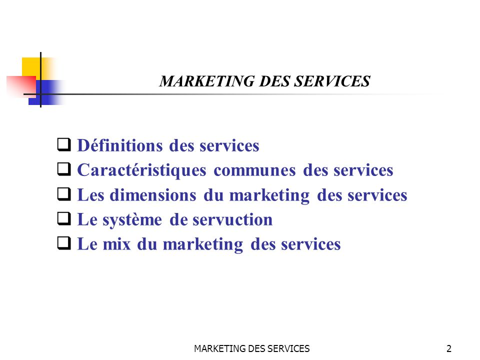 MARKETING DES SERVICES43 MARKETING DES SERVICES Les éléments de la servuction Le service : Est le résultat de linteraction entre lensemble des éléments