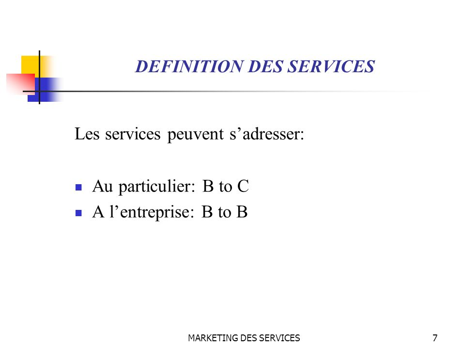 MARKETING DES SERVICES48 MARKETING DES SERVICES Loffre des services Service de base : Il correspond à la vocation de lentreprise, il satisfait le besoin principal du client.