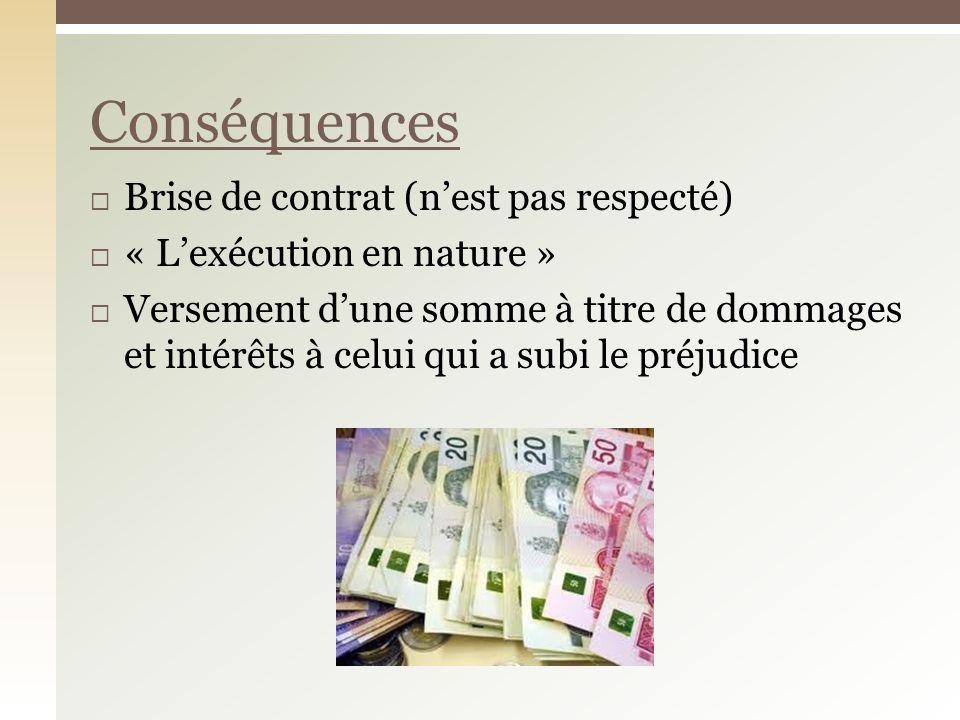 Brise de contrat (nest pas respecté) « Lexécution en nature » Versement dune somme à titre de dommages et intérêts à celui qui a subi le préjudice Conséquences
