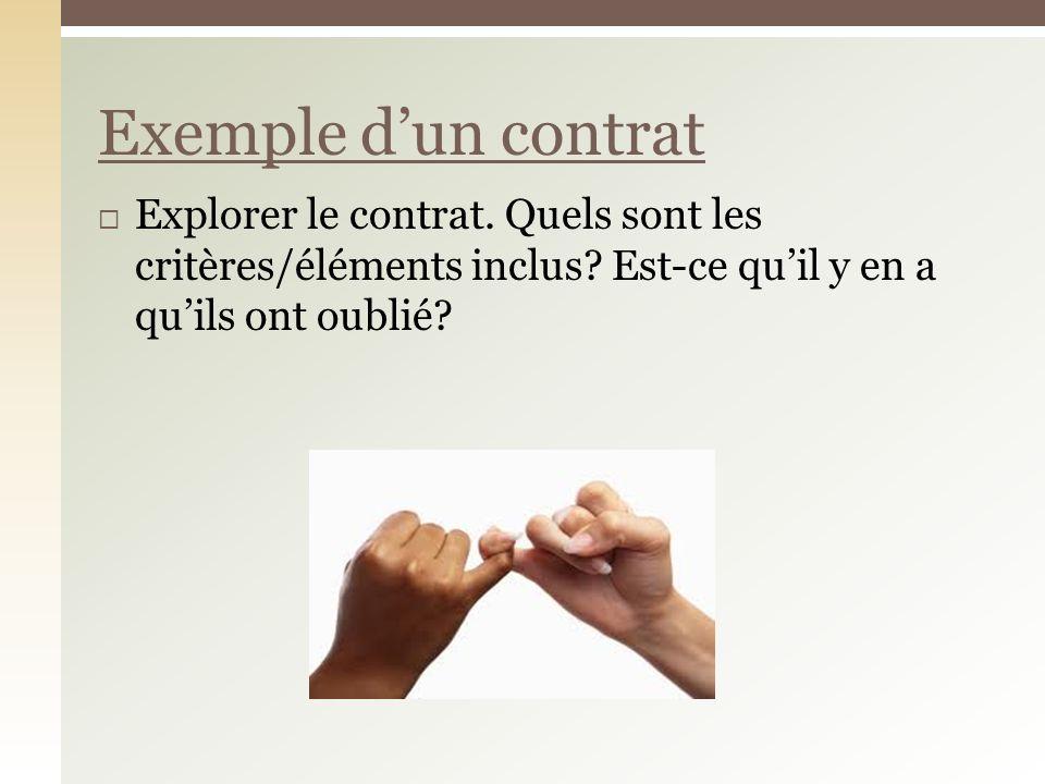 Explorer le contrat. Quels sont les critères/éléments inclus? Est-ce quil y en a quils ont oublié? Exemple dun contrat