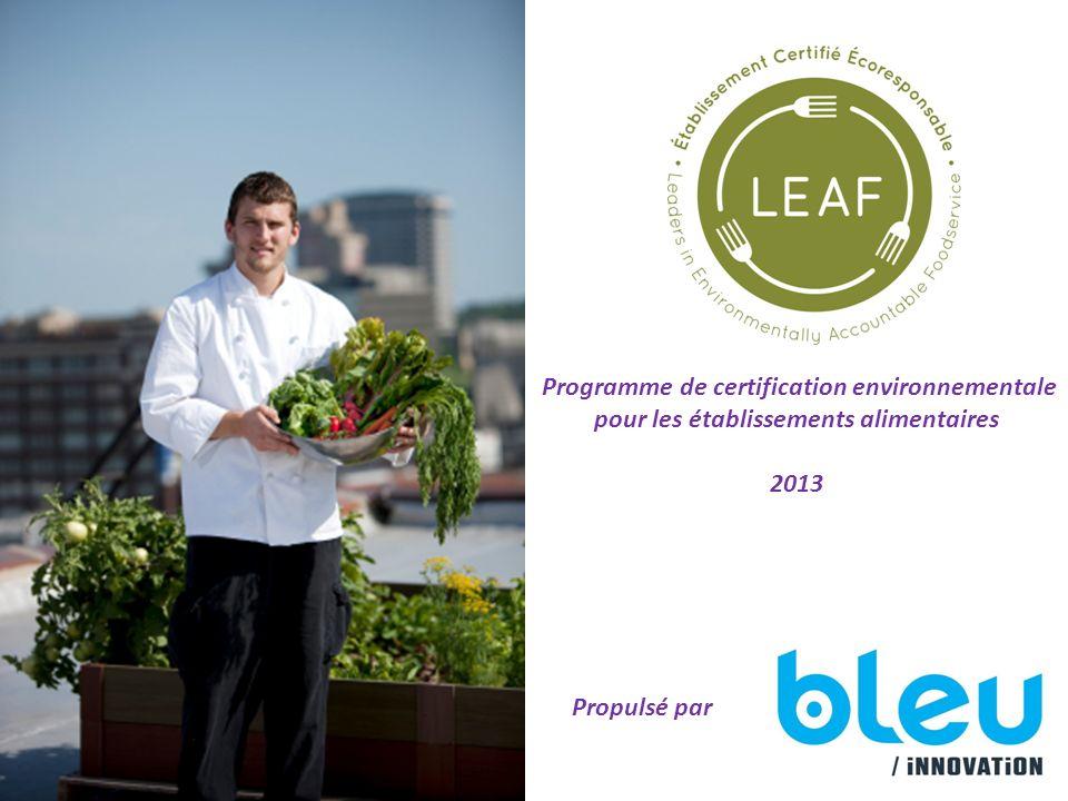Programme de certification environnementale pour les établissements alimentaires 2013 Propulsé par