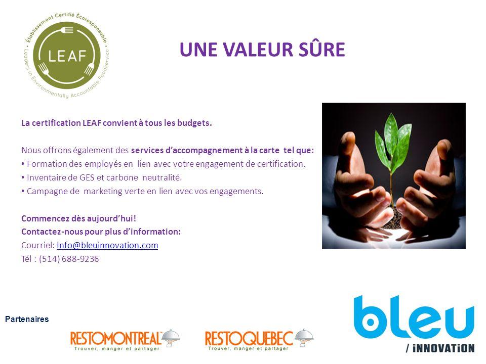 UNE VALEUR SÛRE La certification LEAF convient à tous les budgets.
