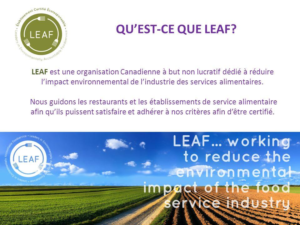 QUEST-CE QUE LEAF? LEAF est une organisation Canadienne à but non lucratif dédié à réduire limpact environnemental de lindustrie des services alimenta
